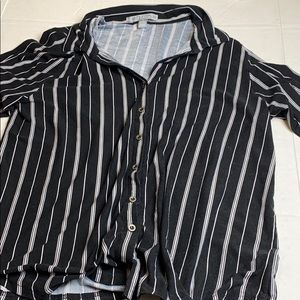 By Design XL Striped Bell Sleeve Button Up